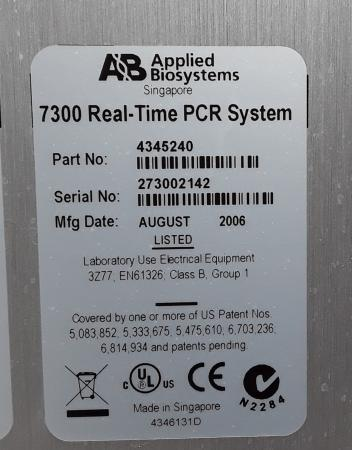Applied Biosystem 7300 Real Time PCR System