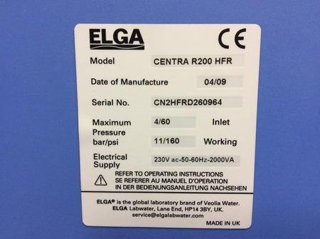 Elga Centra R200 HFR integrated purification type I and Type II water purifier - 7
